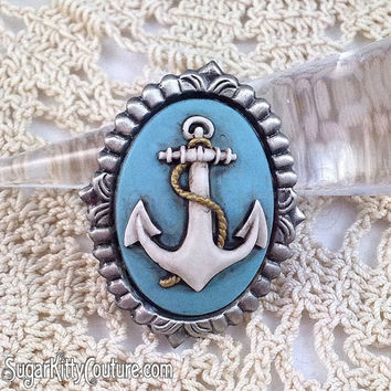 Anchor Hand Painted Cameo Brooch  - SugarKitty Couture