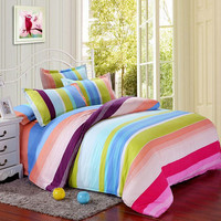 Polyester Colorful Stripes Single Queen King Reactive Bedding Set Bed Sheet Duvet Cover 3 Size