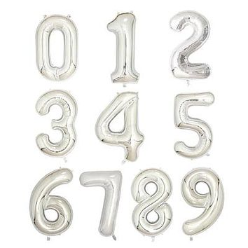 1pc 40 inch rose Gold Silver Aluminium Foil Number Balloons 0-9 Birthday Wedding Engagement Party Decor Globo Kids Ball Supplies Silver