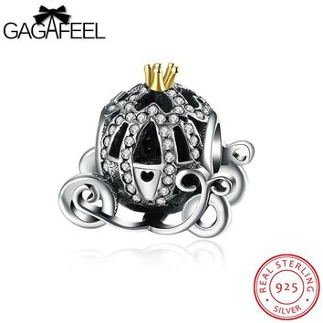 GAGAFEEL Pumpkin Carriage Bead Fit For Pandora Bracelet Necklaces 925 Sterling Silver Jewelry