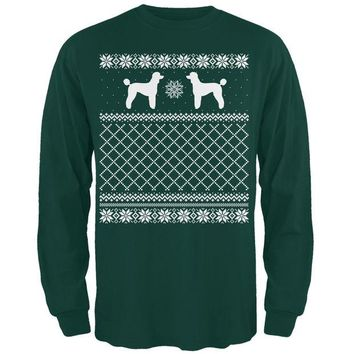 DCCKJY1 Poodle Ugly Christmas Sweater Forest Adult Long Sleeve T-Shirt