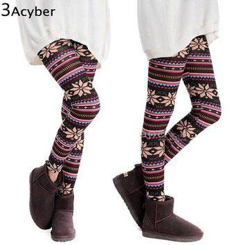 ESBONIS Winter Girl Warm Colorful Print Thick Cotton Blends Fitness Skinny Leggings 2016 HOT SEXY Women Snowflakes Leggings Plus Size u2