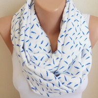 Feather Print infinity Scarf, Cobalt Blue Scarf, White Scarf Cotton Lightweight Soft Infinity Scarf