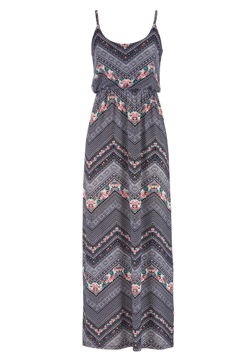Chevron And Floral Print Maxi Dress From Maurices Long