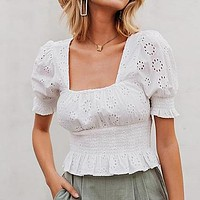 Women White Embroidery Crop Tops and Blouse Lady Vintage Square Collar Short Shirt Female Hollow out Puplem Mujer Blusa