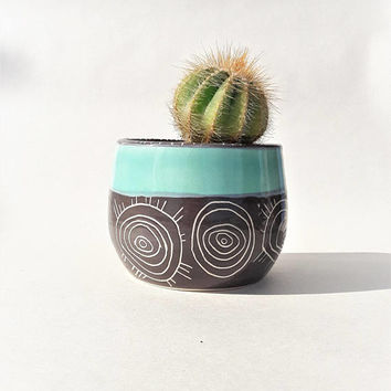 Cute Cactus Pot - Succulent Pot - Cactus Planter - Plant Pot - Handmade Gift - Bio Pattern - Gift for Men