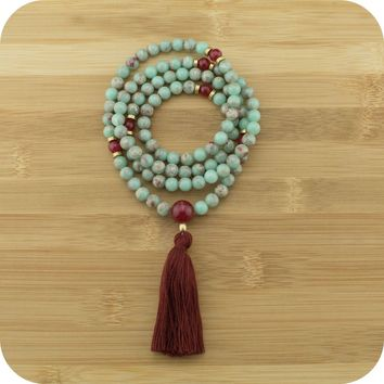 Aqua Terra Jasper Mala with Red Aventurine