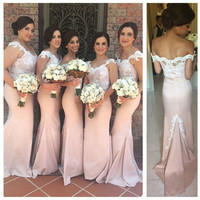 Off Shoulder Prom Dresses,Pink Prom Dress,Long Evening Dresses