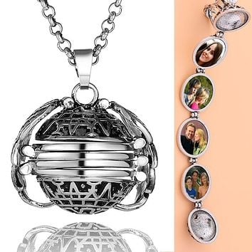 Angel Wing Photo Locket Necklace
