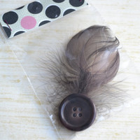 Womans hair accessories. Brown feathers with button. No slip grip clip. -ONE of A KIND- (Made by lippy brand)