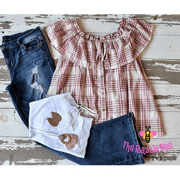 Off The Shoulder Button Down Tunic