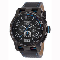Invicta 15906 Men's S1 Rally Black IP Steel Carbon Fiber Black Dial Black Rubber Strap Chronograph Watch