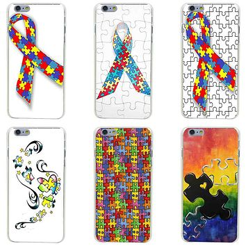 Puzzle Autism Awareness Style Hard Transparent Painted Cover for iphone 4 4s 5 5s se 6 6s 8 plus 7 7 Plus X