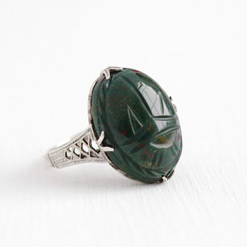 Vintage Sterling Silver Filigree Carved Bloodstone Scarab Ring - Size 4 Oval 10 + Carats Dark Green Beetle Bug Gem Egyptian Revival Jewelry