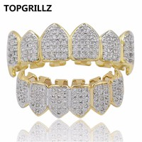 TOPGRILLZ Hip Hop GRILLZ Iced Out AAA Zircon Fang Mouth Teeth Grillz.