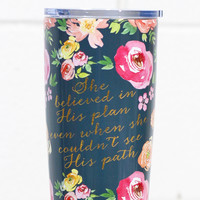Stainless Steel 20 oz Vintage Floral Quote Hot/Cold Tumbler {Navy}