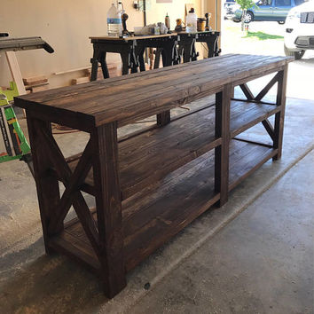 Rustic X Style Table, Rustic Table, Rustic X Table, Wood Side Table, Wooden Couch Table, Console Table, Sofa Table, Entryway Table