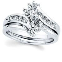 3/8ct tw Diamond Engagement Ring Setting in 14K White Gold - Engagement Rings