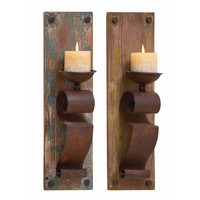 Wood and Metal Rustic Candle Sconces (Set of 2)