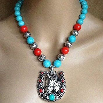 Southwest_Western_Cowgirl__Red_Turquoise_Silver_Horse_Horseshoe_Necklace_Set FGHTRN# Necklace silver