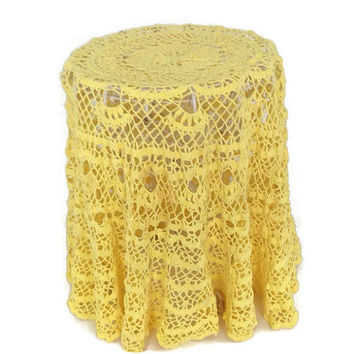 "Vintage Doily-Round Tablecloth-Yellow Crochet-Cotton-Lacey-50""-Wedding-Shabby Chic Home Decor-Handmade-Ruffled Hem"