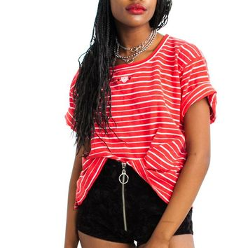 Vintage 90's Striped Boxy Crop Top - One Size Fits Many
