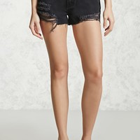 Mid-Rise Distressed Denim Shorts