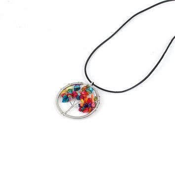 Gagafeel The Tree Of Life Crystal Natural Stone Rainbow Necklace For Woman Girlfriend Jewelry Gift Quartz Pendants Dropshipping