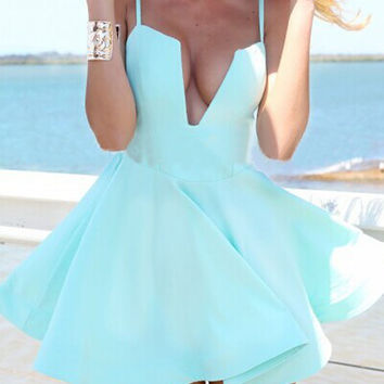 Blue Cami Deep V-Neck Skater Dress