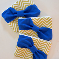 Set of 3 Bridesmaids Clutch Bridesmaid Pouch Bridal Clutch Bridal Accessories Zippered Metallic Gold & White Chevron with Royal Blue Bow