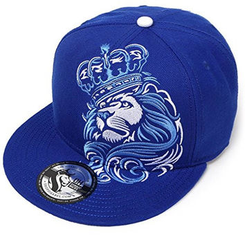 OG Abel Men's Crown Lion Snapback Hat Royal Blue