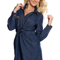 Dark Blue Denim Button Up Draw Waist Dress