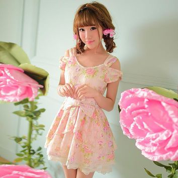 Princess sweet lolita dress Candy rain cute Japanese style new summer lace Nail bead bow floral Dew shoulder dress C15AB5706