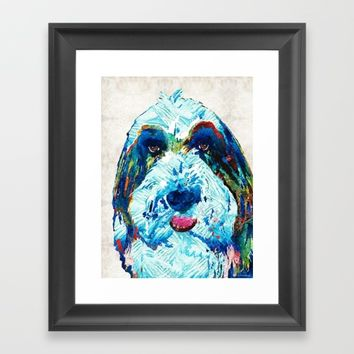 Bearded Collie Art - Dog Portrait by Sharon Cummings Framed Art Print by Sharon Cummings