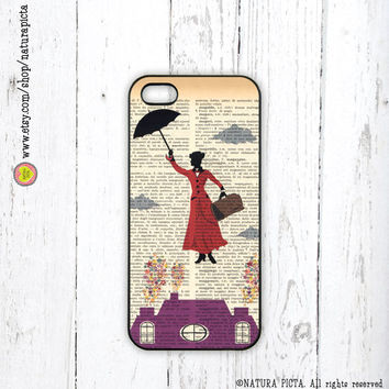 Mary Poppins on vintage dictionary page iPhone case 4/4S - iPhone case 5/5S -Galaxy S4 case -Design by Natura Picta-NP019