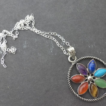 Flower, colorful stone pendant round and silver chain necklace.