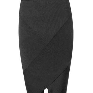 Black Asymmetric Hem Bandage Skirt