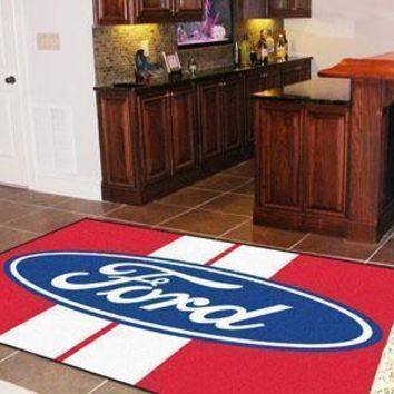 FORD Sports -  Ford Oval with Stripes 5'x8' Plush Rug - Red