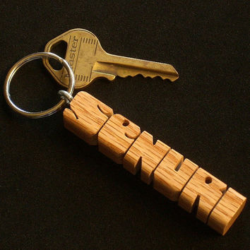 Red Oak Wood Name Keychain - Carved to Order in the USA