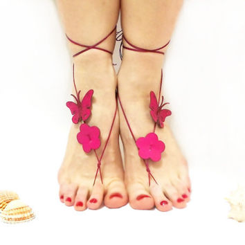 Barefoot sandal, Butterfly Barefoot Sandal, Pink, Genuine leather butterfly, Nude shoes, chamois leather, Anklet, Natural anklet