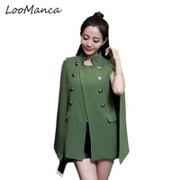LMFONFI Fashion Cloak Cape Blazer Women Coat Black Khaki Lapel Split Long Sleeve  Jacket Casual OL Suit Jacket Workwear Blazers