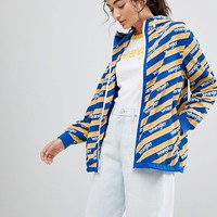 Wrangler Blue and Yelow Zip Through Windbreaker Jacket at asos.com