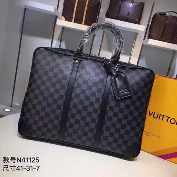Kuyou Lv Louis Vuitton Gb29714 M41125 Black Fossil Mercer Nylon 41*31*7cm