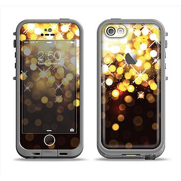 The Gold Unfocused Orbs of Light Apple iPhone 5c LifeProof Fre Case Skin Set