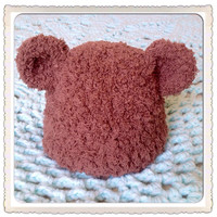 Thick Snuggly Adorable Brown Baby Bear Hat w- Plush Ears, ear For Newborn Infant Teddy Bear Beanie Fashion Photography Photo Prop