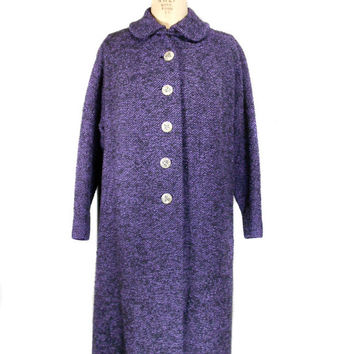 1960s Craigleigh Purple Boucle Tweed Coat / Mad Men / Winter Coat / The Style Shop / Wool / Peter Pan Collar / Size Medium