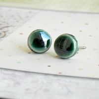 Dark Green Ceramic Stud Earrings Bluegrass Posts Hypoallergenic Geometric Minimalist Modern Earrings