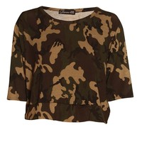 Camouflage Military Print Crop Top Green