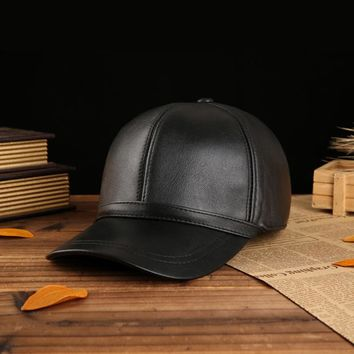 Svadilfari New 2017 Genuine Leather Adjustable Solid Deluxe Baseball Ball Cap brand new men's black sport hats/caps