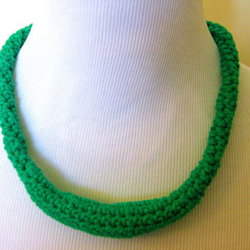 Green Necklace Crochet Rope Fiber Cotton Metal Free Statement
